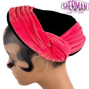 Vintage 40s 50s SHERMAN Velvet Calot Juliet Hat
